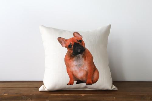 Watercolor Style Tan French Bulldog Square Pillow