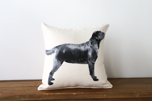 Watercolor Style Black Labrador Dog Square Pillow