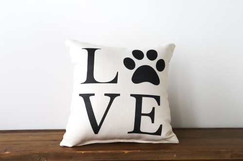 Love with Paw Print Square Pillow