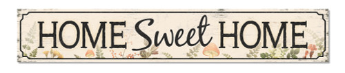 Outdoor Sign - Home Sweet Home - Woodland Theme with Mushrooms - 8x47 Horizontal