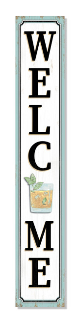Outdoor Welcome Sign for Porch - Mint Julep - Vertical Porch Board 8x47