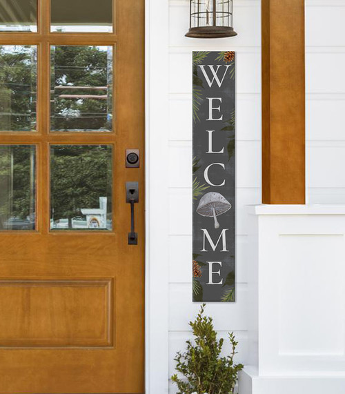 Outdoor Welcome Sign for Porch - Gray with Mushroom Woodland Theme - Vertical Porch Board 8x47