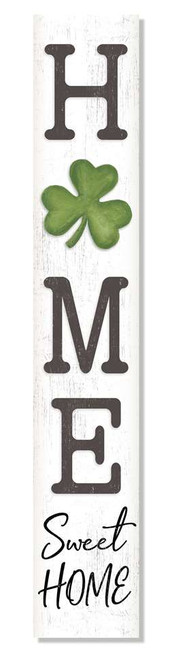 Outdoor Welcome Sign for Porch - Home Sweet Home with Shamrock - Vertical Porch Board 8x47