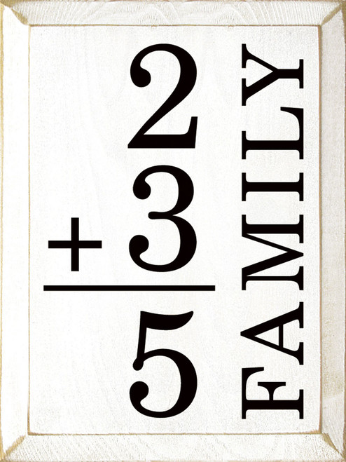 White - Personalized Family Math - Wood Sign 9x12