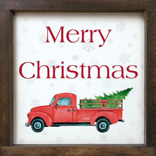 Merry Christmas With Red Farm Truck - Wood Framed Sign