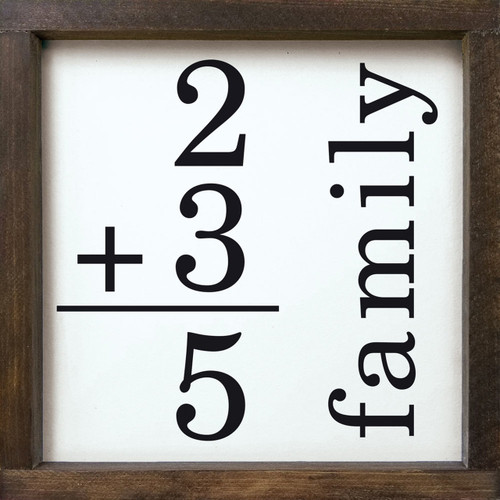 Personalized Family Math - Wood Framed Sign