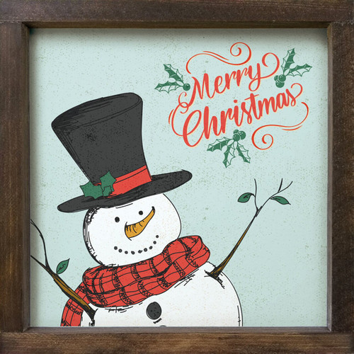 Merry Christmas With Snowman - Wood Framed Sign