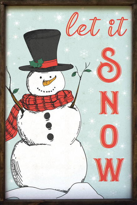 Let it Snow with Snowman - Wood Framed Sign 24x36