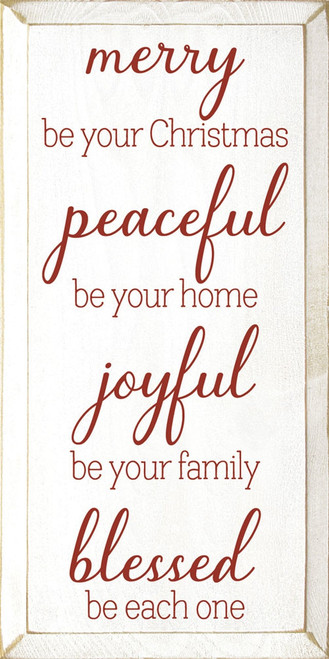 Merry be your Christmas, peaceful be your home, joyful be your family, blessed be each one.