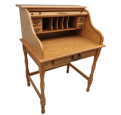 Mini Roll Top Desk 32 inch Solid Oak Wood 32W x 24D x 44H Small Desk Harvest Light Oak stain