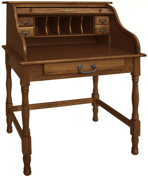 Burnished Walnut Stain on Solid Oak Mini Roll Top Desk 32 inch Solid Oak Wood 32W x 24D x 44H Small Desk