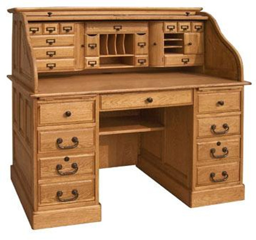 Solid Oak Roll Top Deluxe Executive with Warm Harvest Stain Double Pedestal with Locking File Drawers and Tambour Classic Antique Styling with Dove Tailed Drawers and Raised Panel Sides