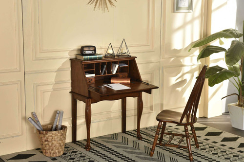 Solid Oak Drop Front Secretary Desk 32W x 17D 41.5H Great Laptop Desk