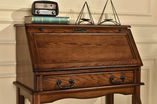 Solid Oak Drop Front Secretary Desk 32W x 17D 41.5H Great Laptop Desk