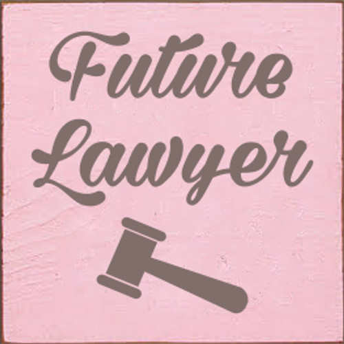 7x7 Baby Pink board with Anchor Gray text  Future Lawyer