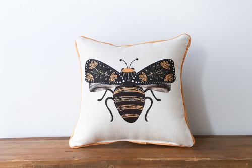 Botanical Bee Square Pillow