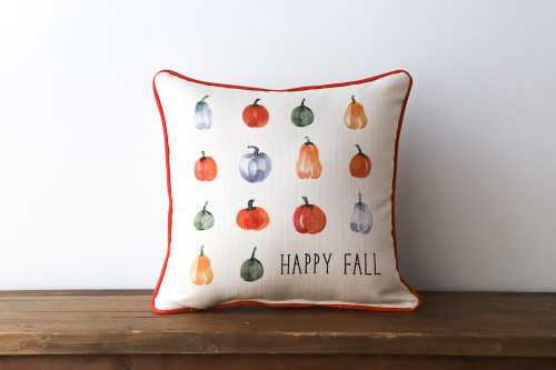 Happy Fall With Variety Of Pumpkins Square Pillow
