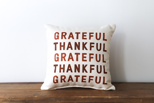 Grateful Thankful Brown Square Pillow