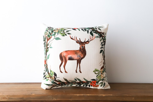 Deer with Christmas Wreath Square Pillow
