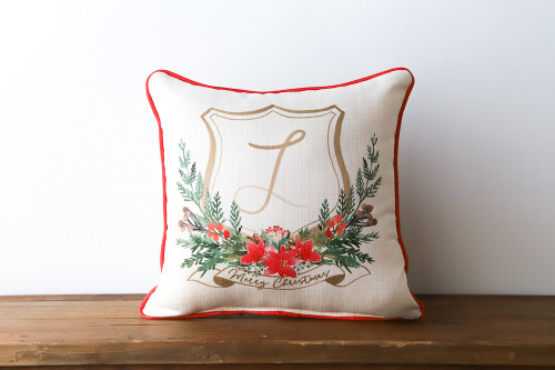 Christmas Crest With Personalized Initial Square Pillow