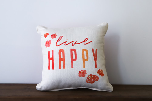 Live Happy with Peonies Square Pillow