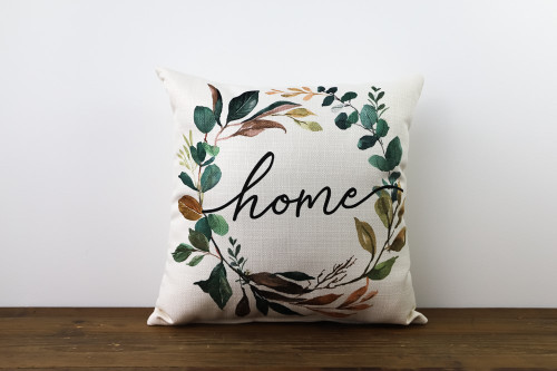 Home with Magnolia Wreath Square Pillow