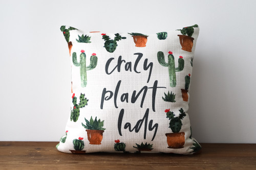 Crazy Plant Lady with Houseplants, Cacti, and Succulents Square Pillow