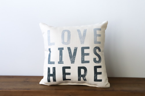 Love Lives Here Gray Square Pillow