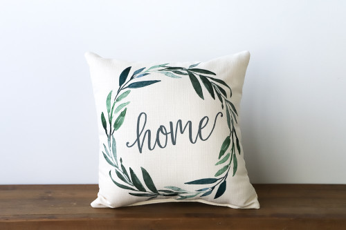 Home with Green Wreath Square Pillow