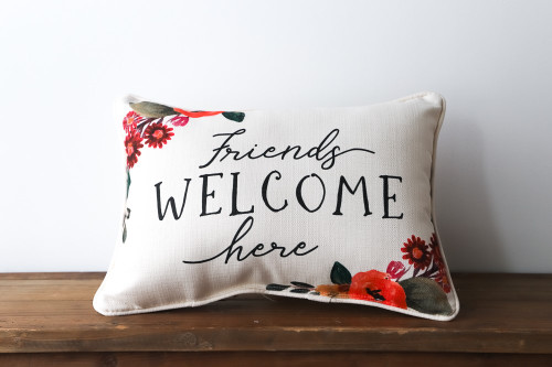 Friends Welcome Here Floral Rectangle Pillow