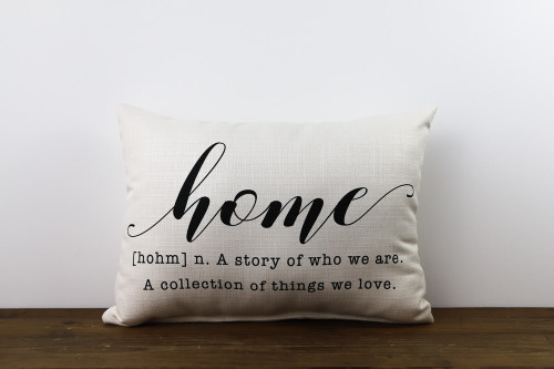 Home A Story Of Who We Are. A Collection Of Things We Love. Rectangle Pillow