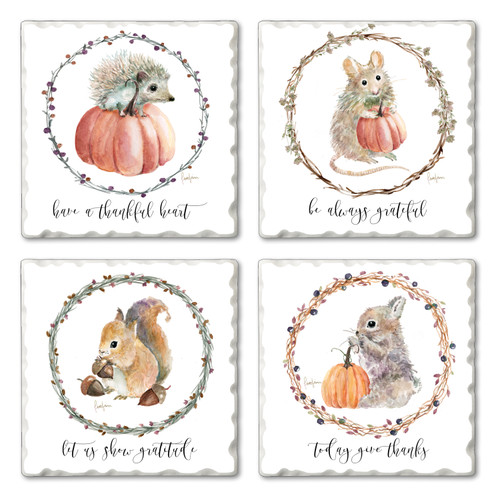 Tile Coasters - Adorable Autumn Animals with Pumpkins and Acorns - Set of 4