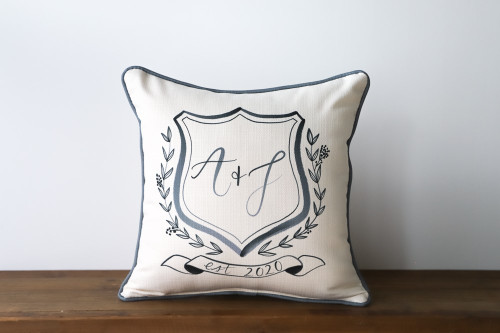 Couple's Initials In Shield With Established Year Square Pillow