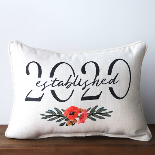Florals with Established Year Rectangle Pillow