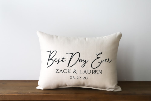 Best Day Ever With Custom Couple's Names And Date Rectangle Pillow