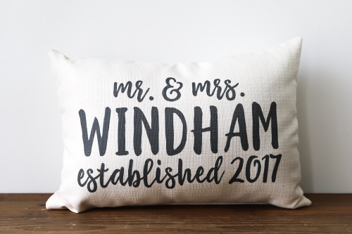 Custom Mr & Mrs with Established Year Rectangle Pillow