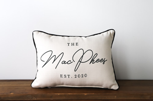 Family Name With Established Year Rectangle Pillow
