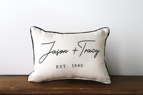 Couple's Names With Established Year Rectangle Pillow