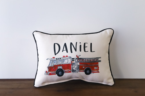 Custom Name with Firetruck Rectangle Pillow