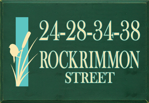 24x34.5 Dark Green Board with Baby Yellow and Aqua text  24-28-34-38 ROCKRIMMON STREET