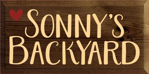 9x18 Walnut Stain board with Baby Tangerine text  Sonny's Backyard