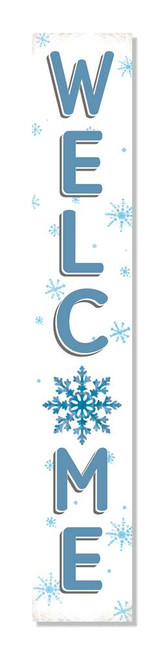 Outdoor Welcome Sign for Porch - Winter Snowflakes - Vertical Porch Board 8x47