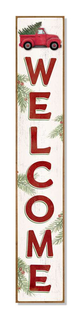 Outdoor Welcome Sign For Porch - Truck With Christmas Tree And Holly - Vertical Porch Board 8x47
