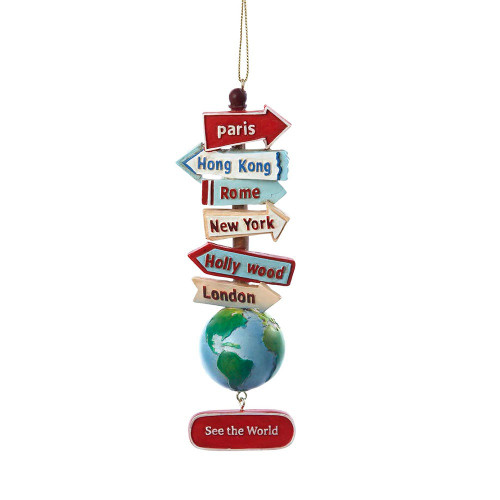 "Resin World City Signs With Globe ""See The World"" Travel Ornament"