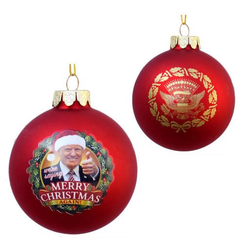 Trump Christmas Again Gls Ornament