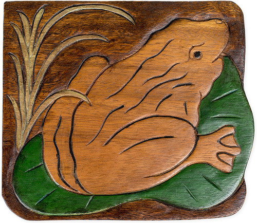 Frog on Lily Pad Step Stool Hand Carved Solid Acacia Sturdy Wood Stool For Children or Adults 10x10.5x10