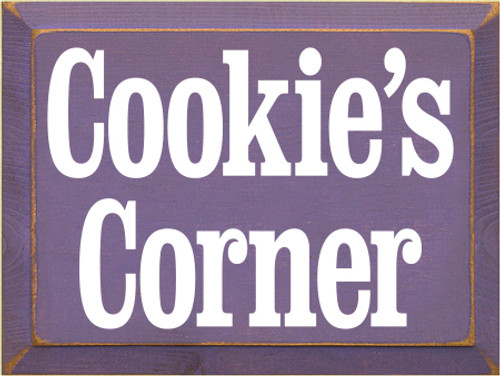 9x12 Purple board with White text  Cookie's Corner