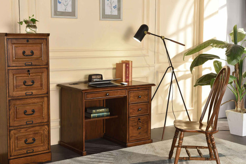 """Solid Oak 42"""" Flat Top  Executive  Desk with Burnished Antique Medium Stain Single  Pedestal with Locking File Drawers  Classic Antique Styling with Dove Tailed Drawers"""