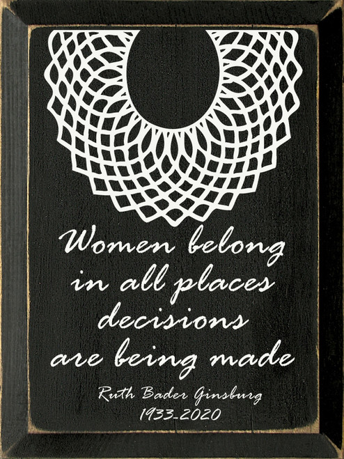 Women belong in all places decisions are being made. Ruth Bader Ginsburg 1933-2020