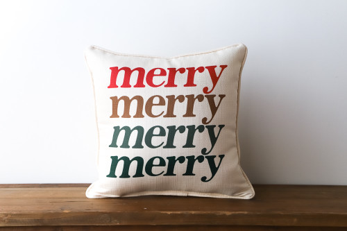 Merry Merry Merry Merry - Colorful Christmas Square Pillow